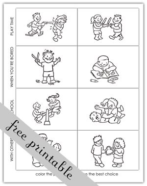 Making Good Choices Activity Sheets Activity Choices Coloring