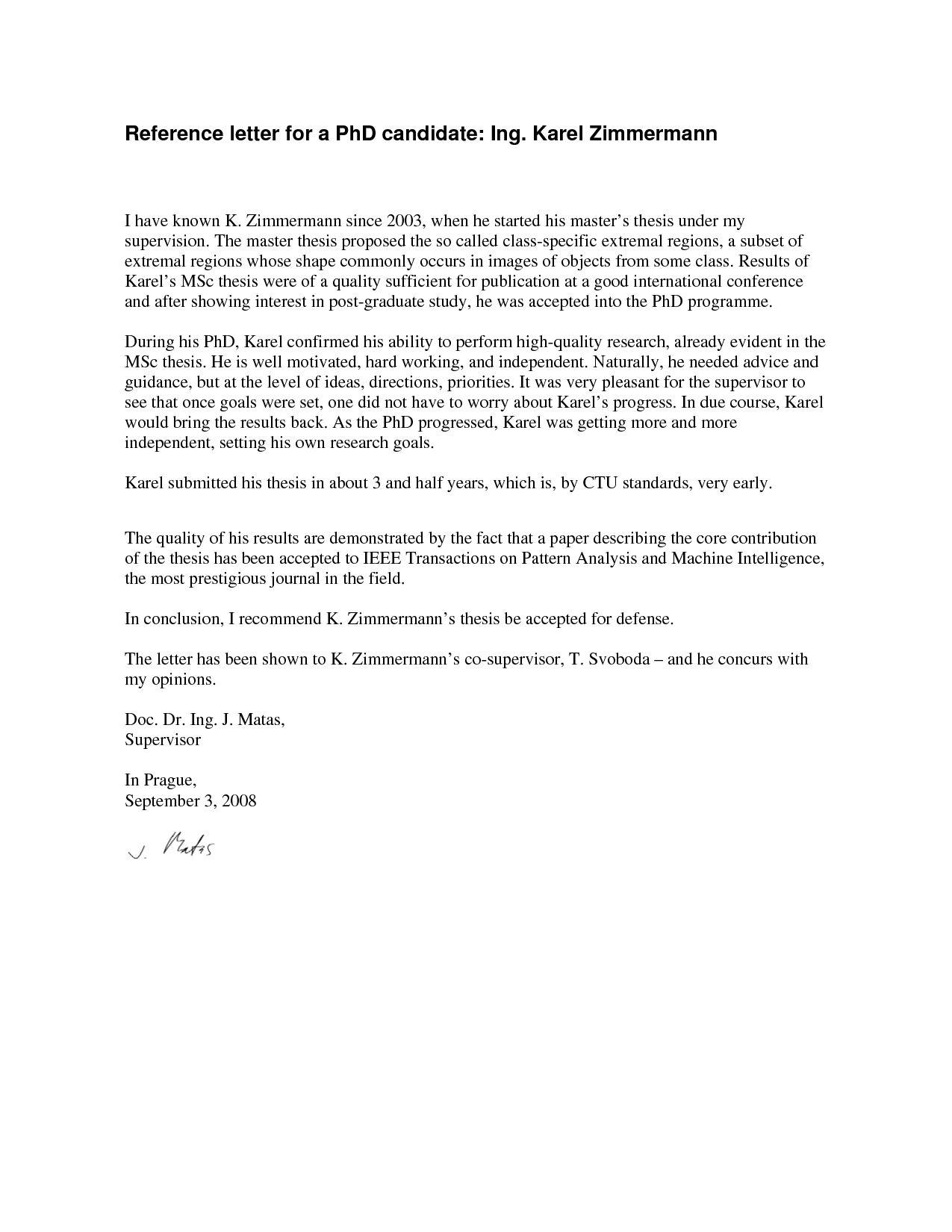 Letter Phd Program Sample