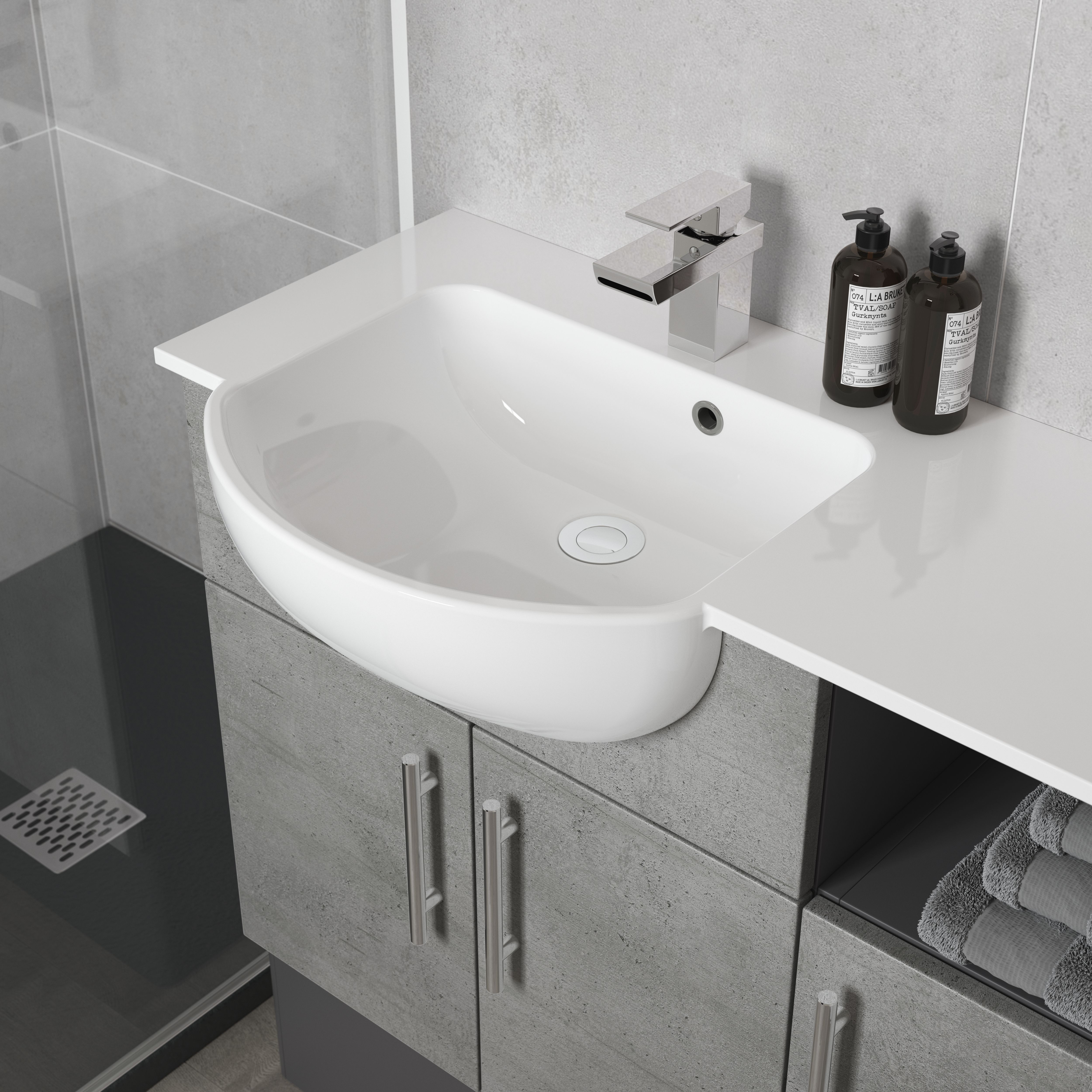 Arco Semi Recess Basin With Right Hand Combined Worktop Wing Fitted Bathroom Semi Recessed Basin Semi Recessed Sink