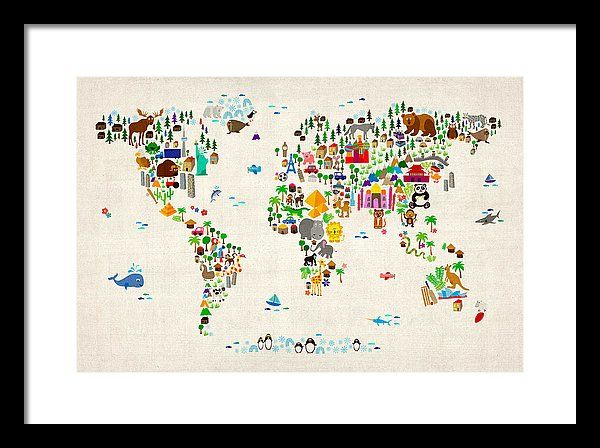 e4030d33116 Map Of The World Framed Print featuring the digital art Animal Map Of The  World For Children And Kids by Michael Tompsett