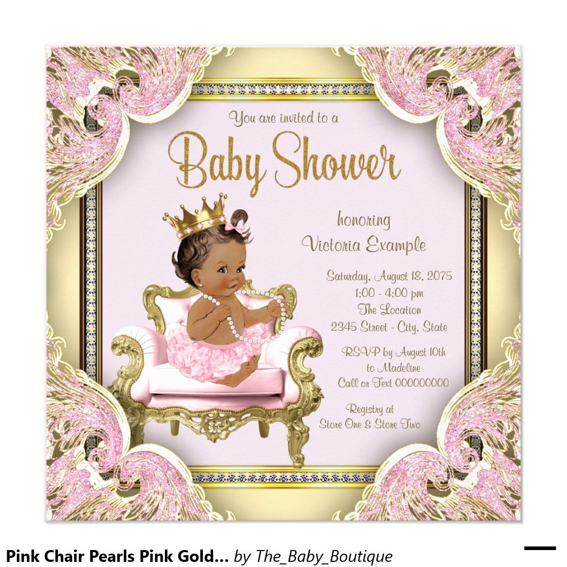African Birthing Chair Resin Chaise Lounge With Slat Seat American Princess Baby Shower Invitation
