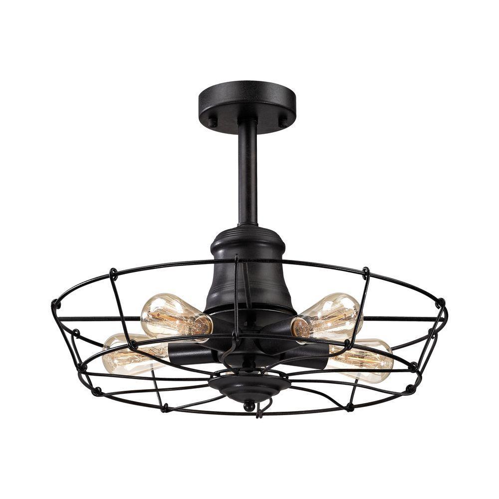Titan lighting glendora light wrought iron black semi flush mount