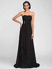 Lanting Sweep/Brush Train Chiffon Bridesmaid Dress - Black Plus Sizes / Petite A-line Strapless