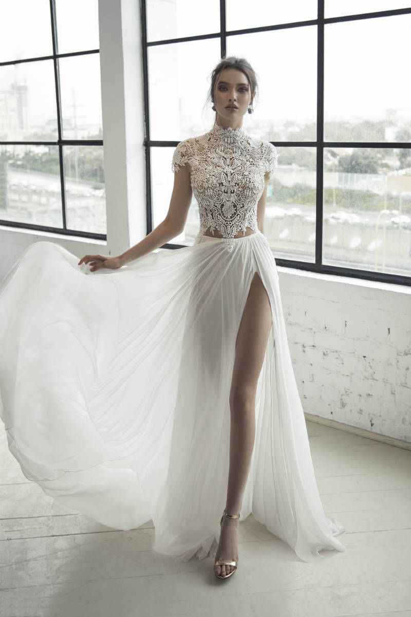 Two piece crop top wedding dress  Romanzo by Julie Vino  Wedding Dresses  The