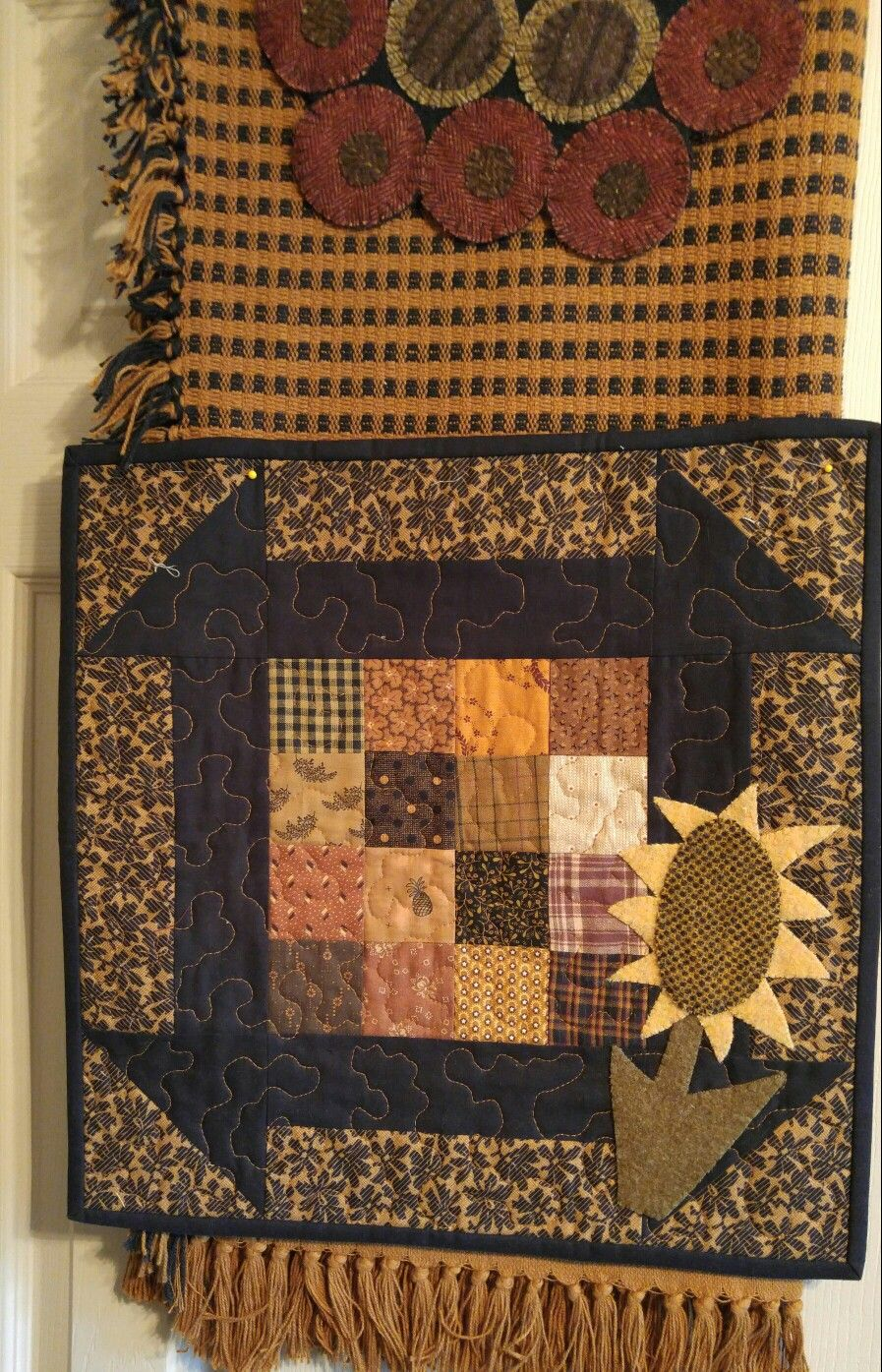 Small Fall scrap quilt with wool appliqued sunflower by Mary Ann ... : quilting with wool - Adamdwight.com