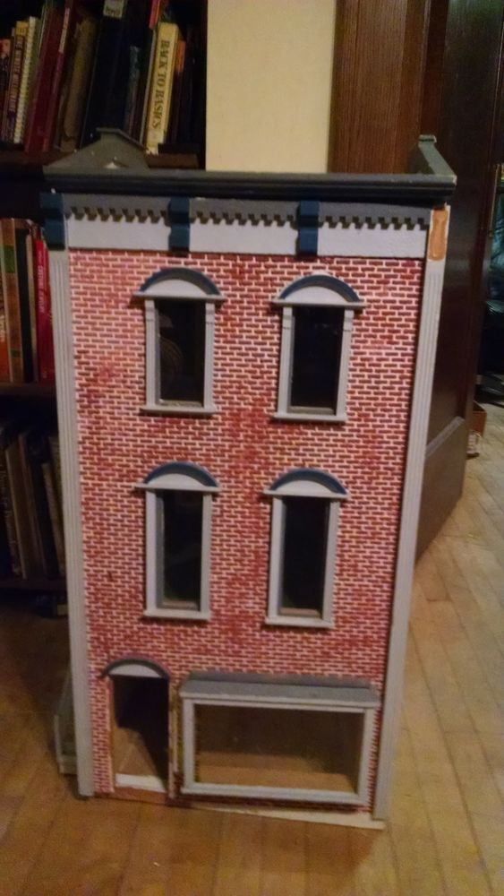 VTG Victorian Brick Store Front 3 Story Doll House Wood TLC Minor Repair