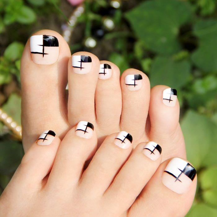 Latest Black and White Toe Nail Designs | Nail Art | Pinterest ...