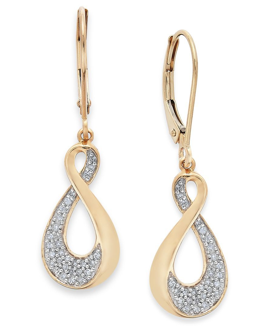 Diamond Infinity Drop Earrings in 10k Gold (1/5 ct. t.w.)