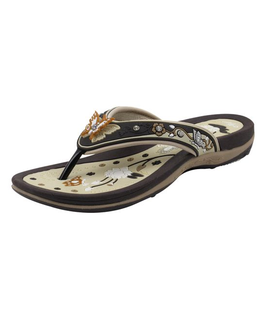 fb7665a12 Brown Butterfly Embellished Flip-Flop - Women