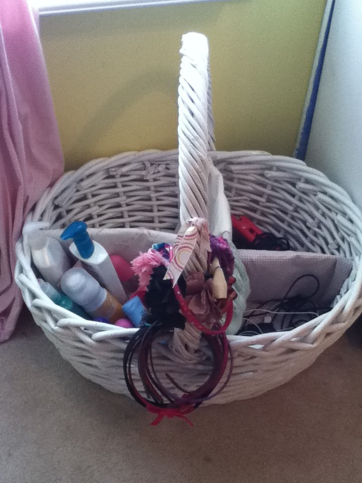 cute basket with cardboard dividers to make a space for all your things!!!!