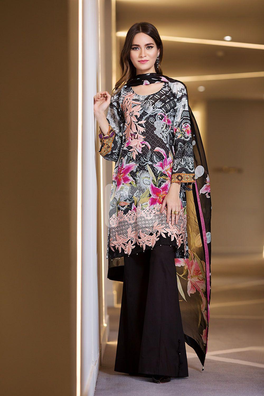 Beautiful black embroidered unstitched Pakistani pret wear
