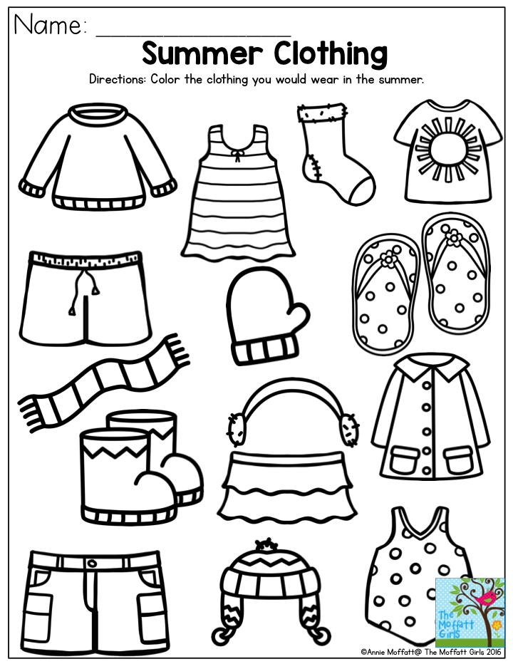 reputable site f2d8a a7f1c Summer Clothing- Color the items that you would wear in the ...