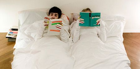 Sleeved Blanket for Reading in Bed - Limited edition duvet covers with sleeves, because it is really annoying to have cold arms when reading in bed. The blanket features an opening for the index finger that allows readers to conveniently turn pages.