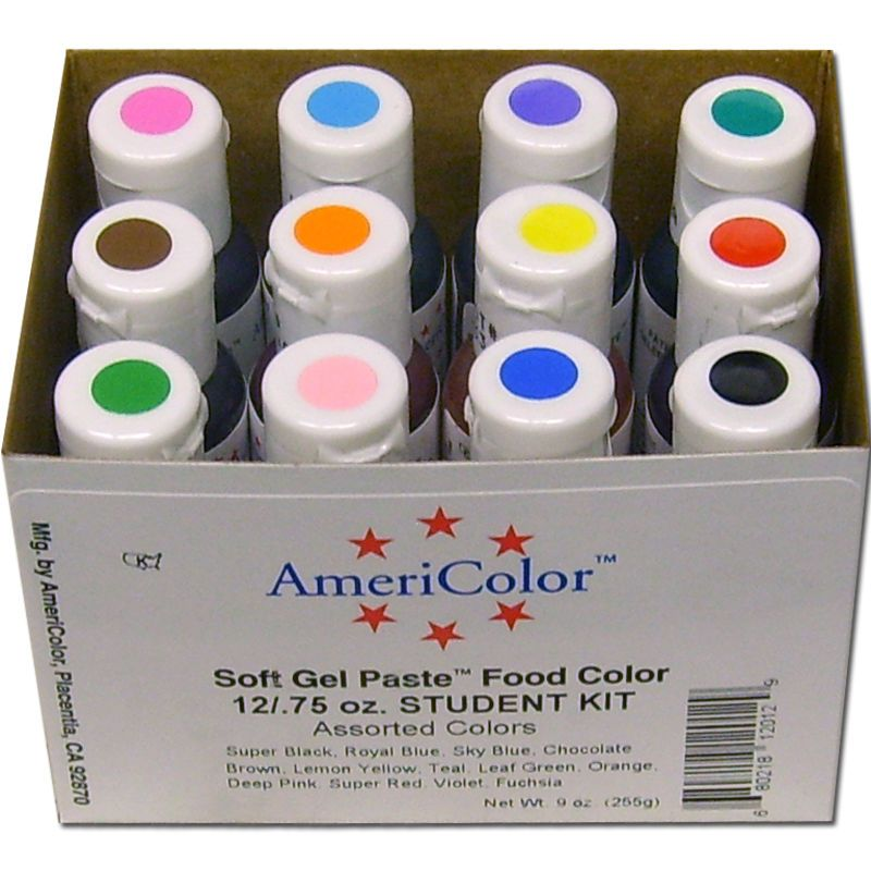 Americolor Soft Gel Paste Student Kit New - 12 Colors - Food Coloring