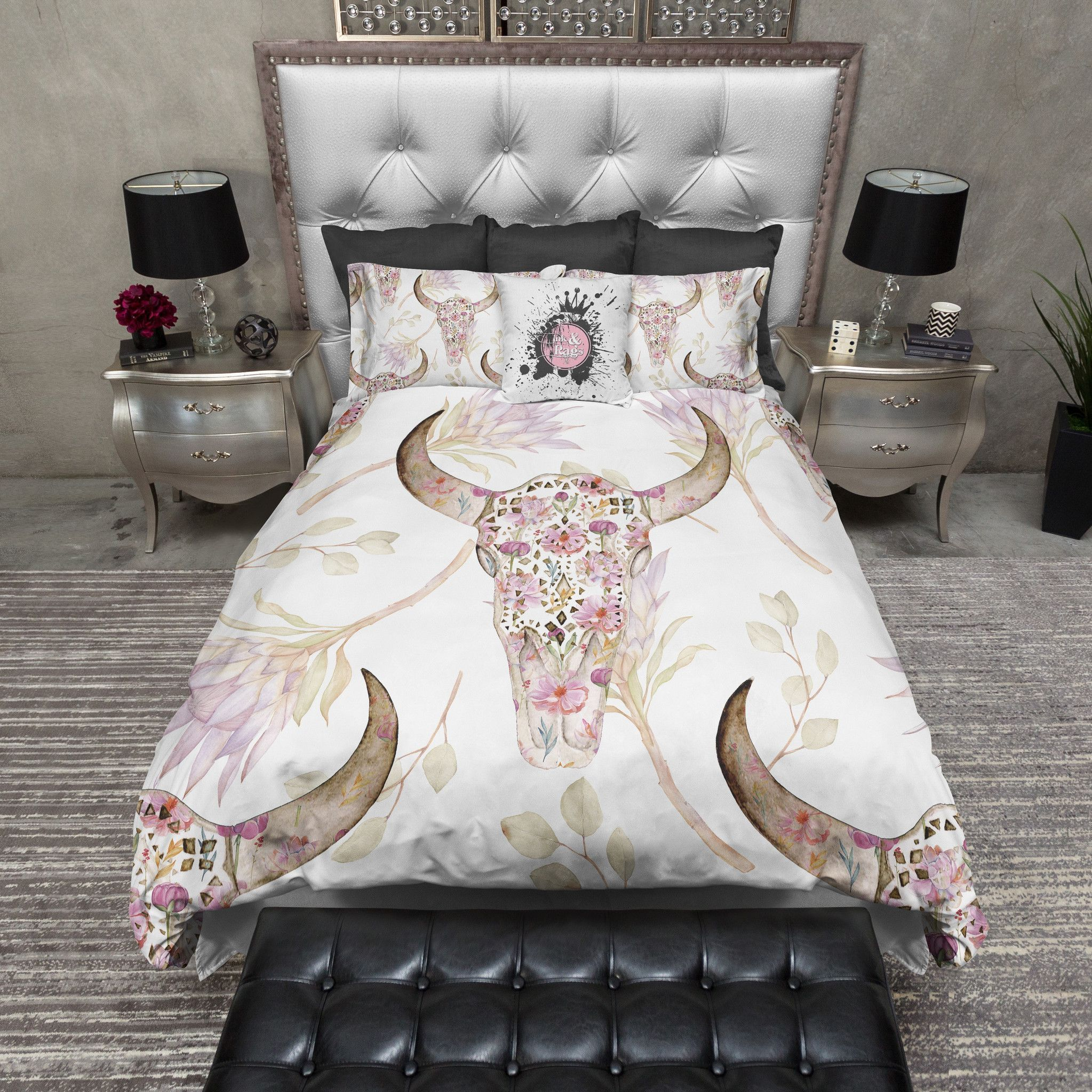 Boho Petite Flower And Bull Skull And Flower Bedding Bed Linens