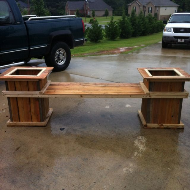 Pallets flower pots bench made from pallets another for How to make plant pots from pallets