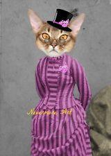 Steampunk Cat Anthropomorphic Altered Art Print Animal Head 8 by 10 Original