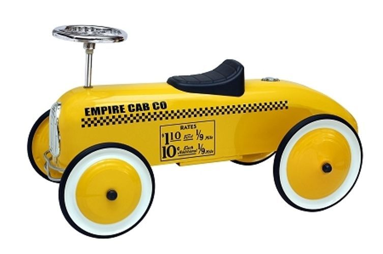 yellow taxi cab car kids scootster scoot along ride on car steel made new morgancycle