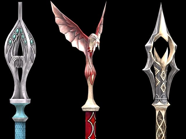 Fantasy scepter weapon collection 3d model | Weoponary