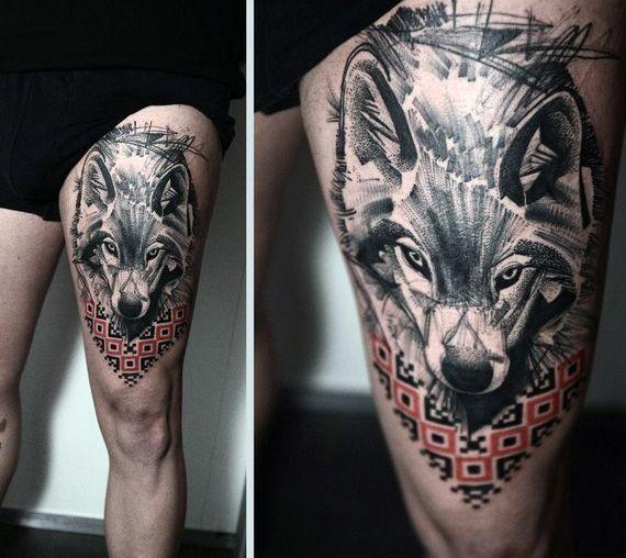Tattoo Ideas Upper Leg: Mens Abstract Wolf Upper Thigh Tattoo Design
