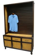 Slatwall Display Cabinet  Such a beautiful piece with Stained Mahogany and Rattan finishes.  Get yours today at BarrDisplay.com