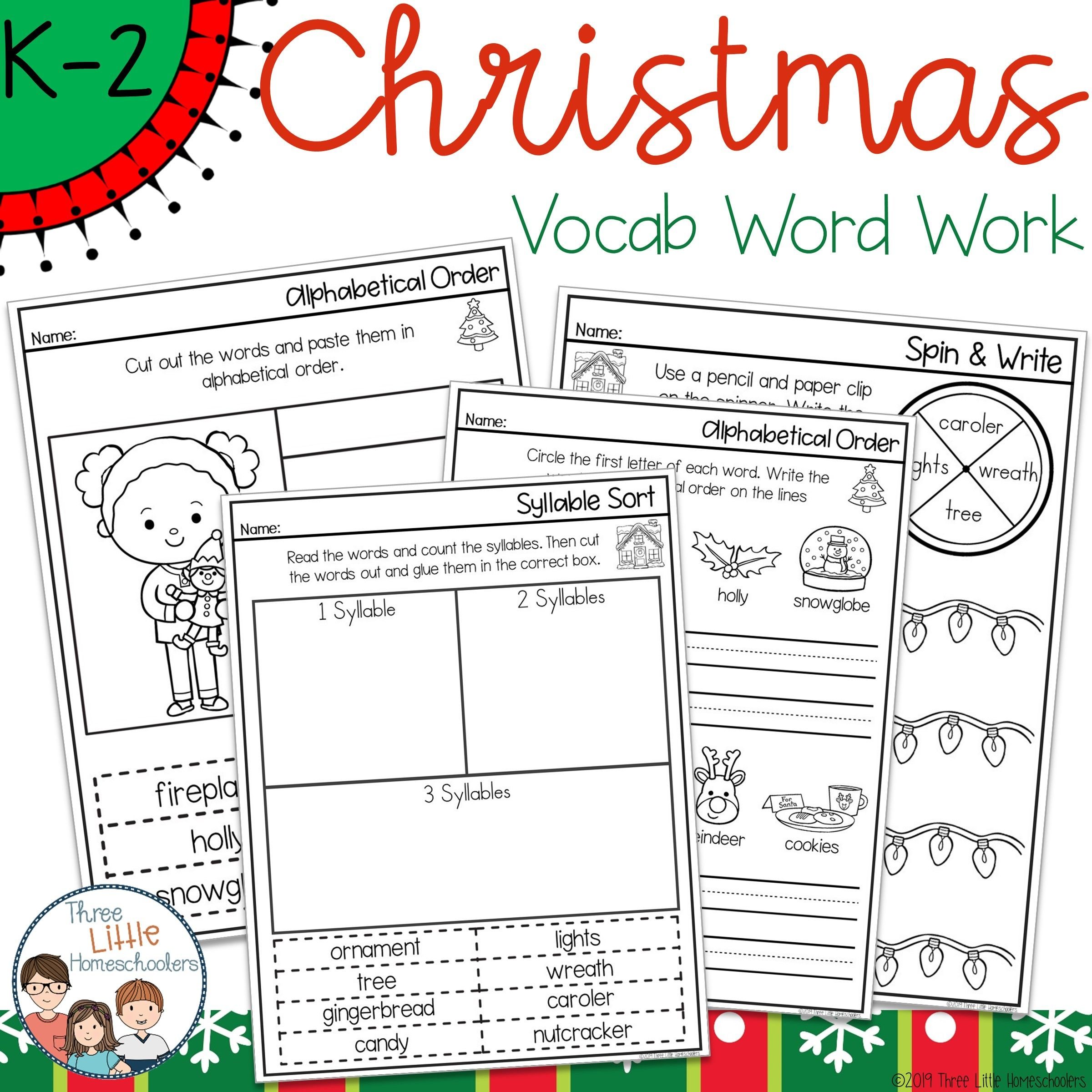 Christmas Spelling Word Work Pack