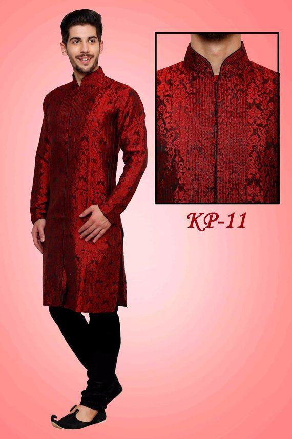 Maroon Color Brocade Fabric Kurta Payjama by VardhitaSarees   Men\'s ...
