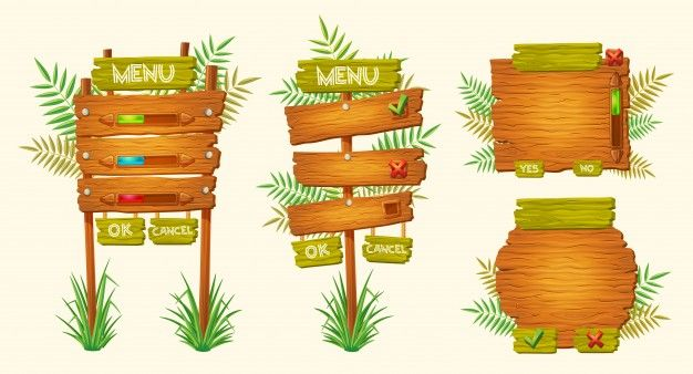 Download Set Of Vector Cartoon Wooden Signs Of Various Forms For