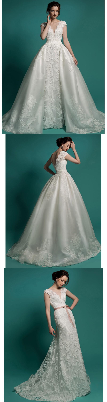 Long Bridal Gown Detachable Skirt Wedding Dress 2016