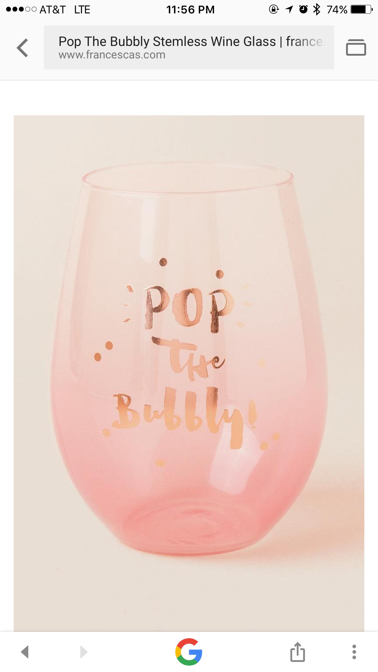 Pop Champagne Wine Glass Stemless Wine Glass Pop Champagne