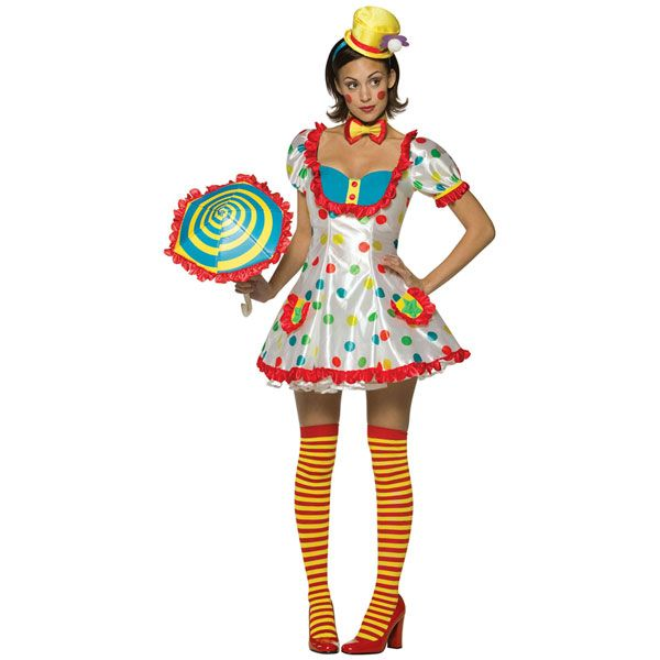 Adult Colorful Female Clown Costume (One size fits ladies size Includes Dress Hat Bowtie Stockings Bloomers. Does not include umbrella or shoes.  sc 1 st  Pinterest & so cute | Fall // Halloween | Pinterest | Costumes