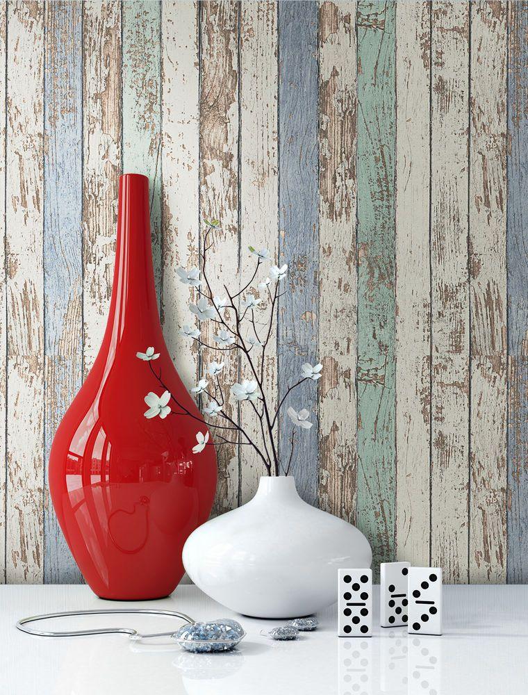 Vliestapete Holz Muster Antik Beige Blau Braun Creme Tapete NEU