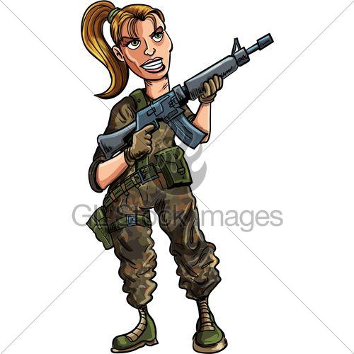 Cartoon Female Soldier With Assault Rifle. Isol ... Soldier With Gun Cartoon