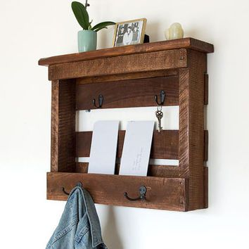 Wood Mail Organizer Entryway Coat Hooks Storage Key Holder And