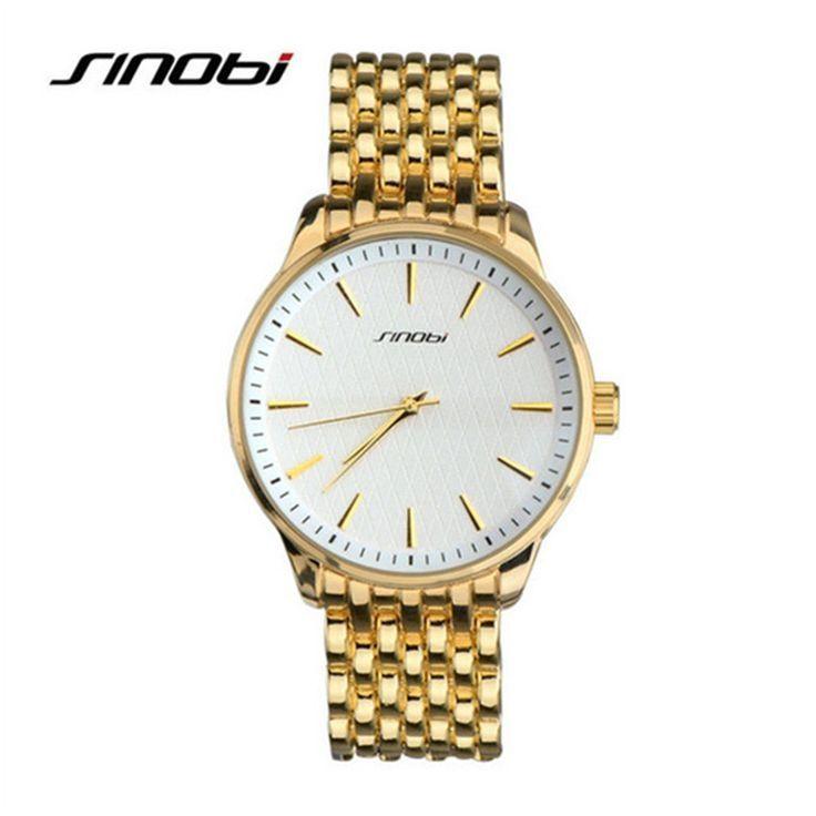 SINOBI Watch Men Fashion Stainless Steel Watch Luxury Gold Quartz Watch Male Hour saat erkek montre homme relogio masculino