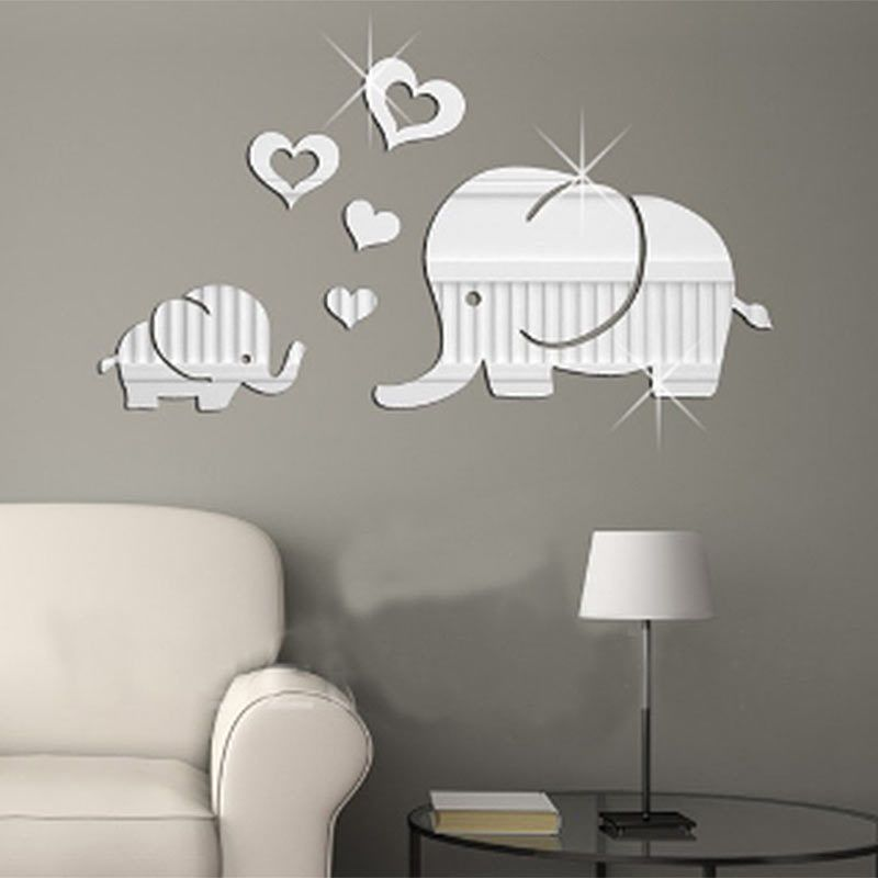 Elephant-Mirror Wall Sticker DIY Removable Art Baby Kids Room Decor Mural Decals