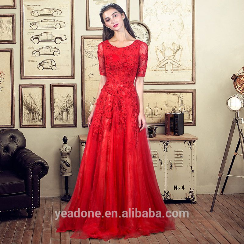 Wholesale Chinese Traditional Evening Dress Floor Length Appliques ...