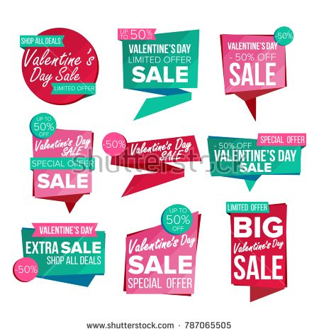 Valentine S Day Sale Banner Set Vector Discount Tag Special