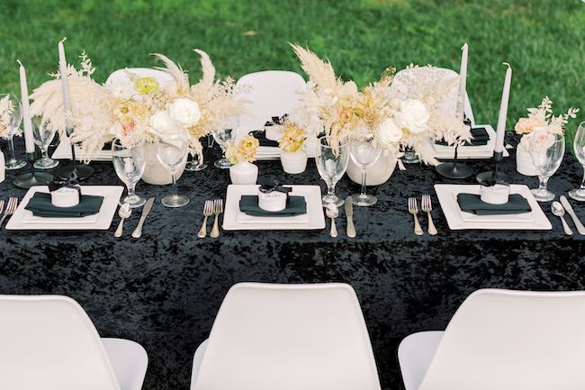 Chic And Edgy Wedding With Velvet Black Details Edgy