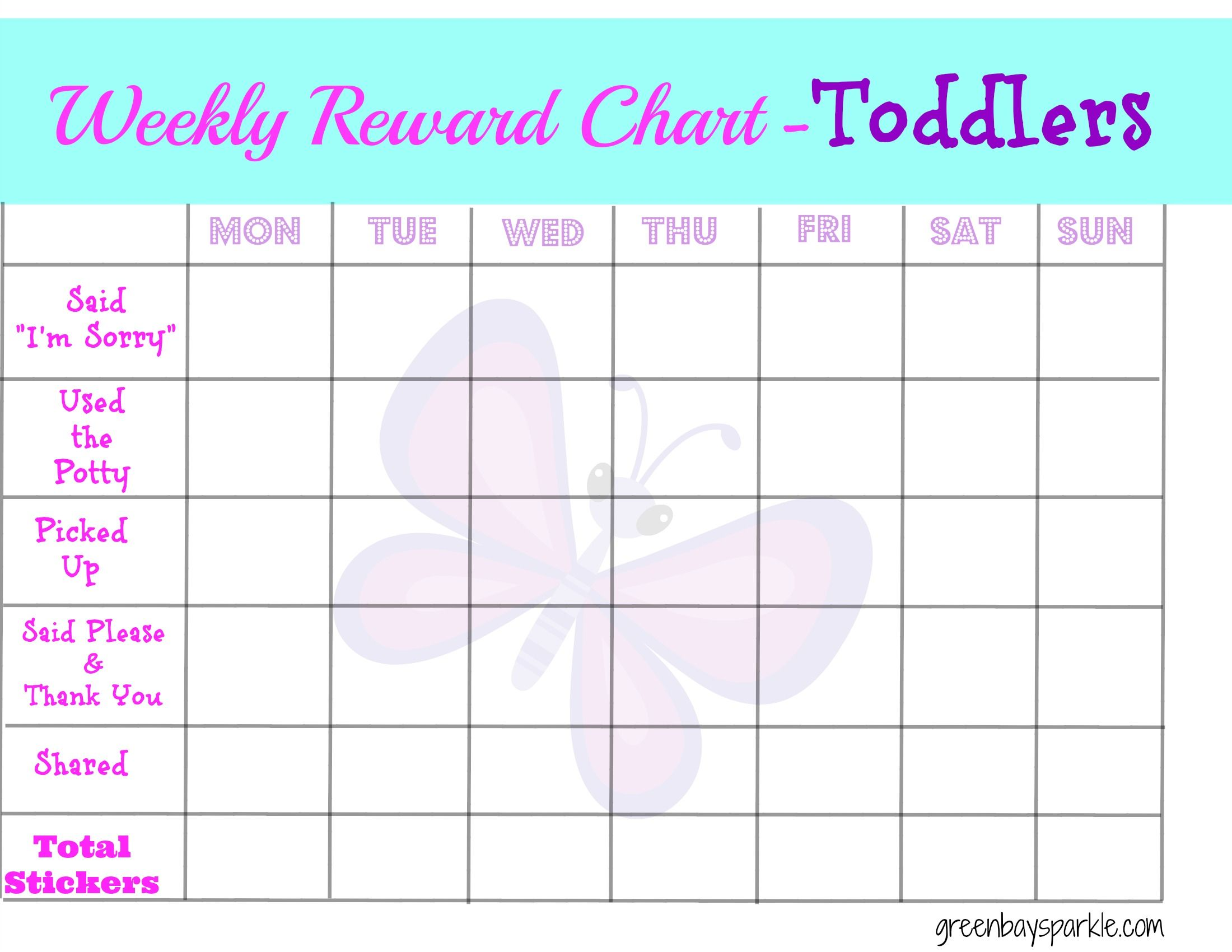 Weekly Reward Chart - Toddlers