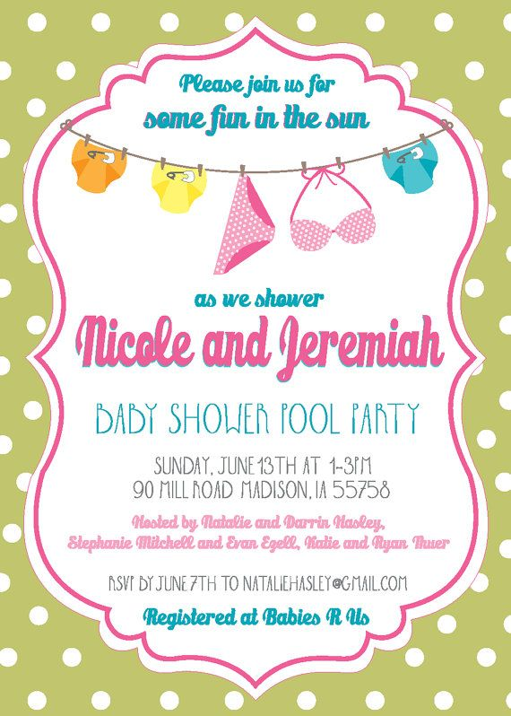 Baby Shower Pool Party by LilliesPapeterie