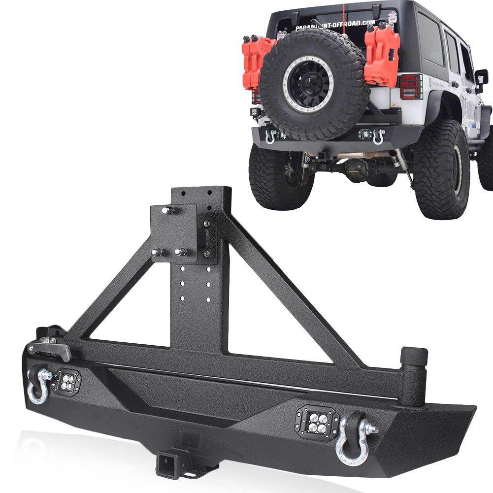 Front Rear Bumper w// LED Lights Matte Black Steel for 97-06 Jeep Wrangler TJ