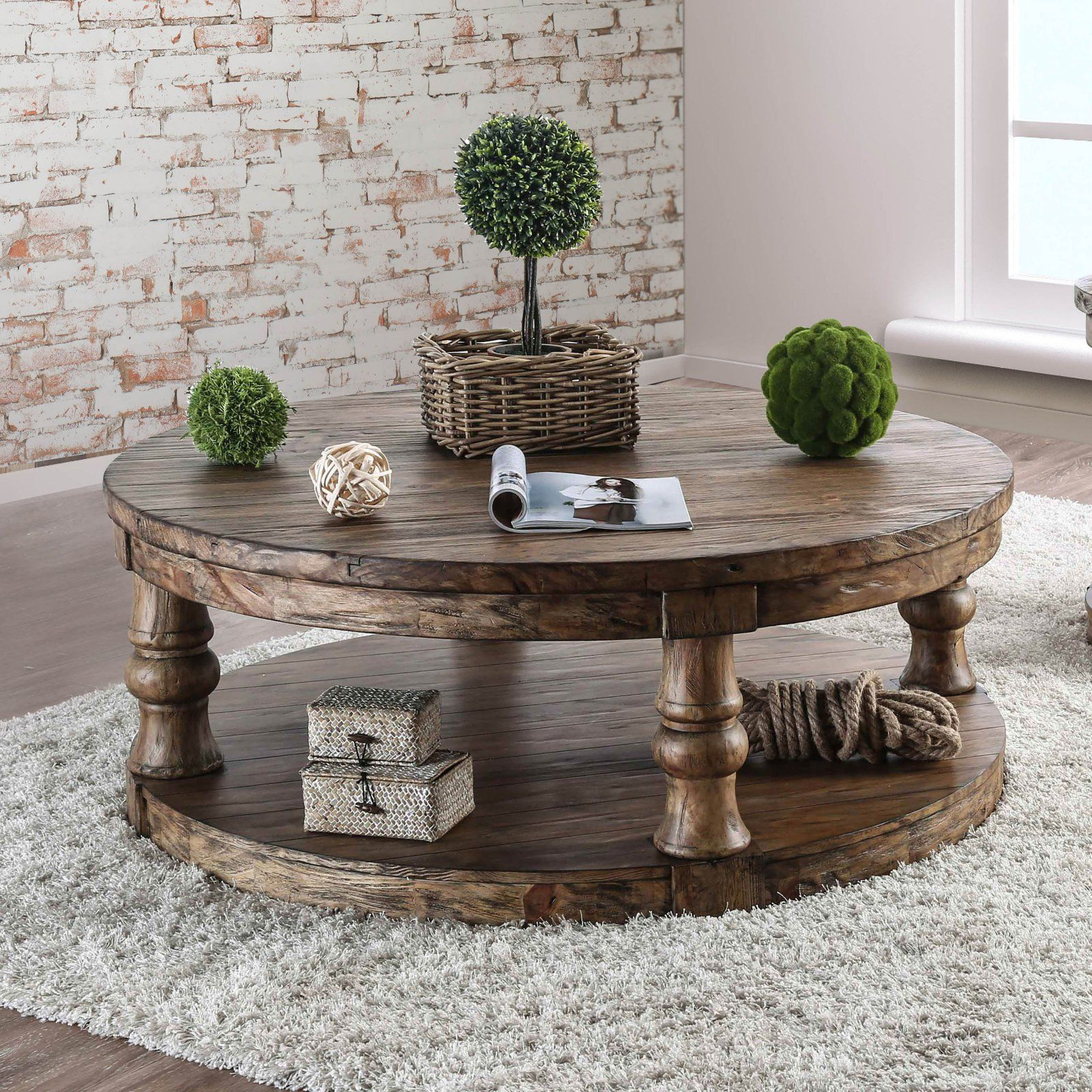 Furniture of America Tanenbaum Rustic Round Coffee Table