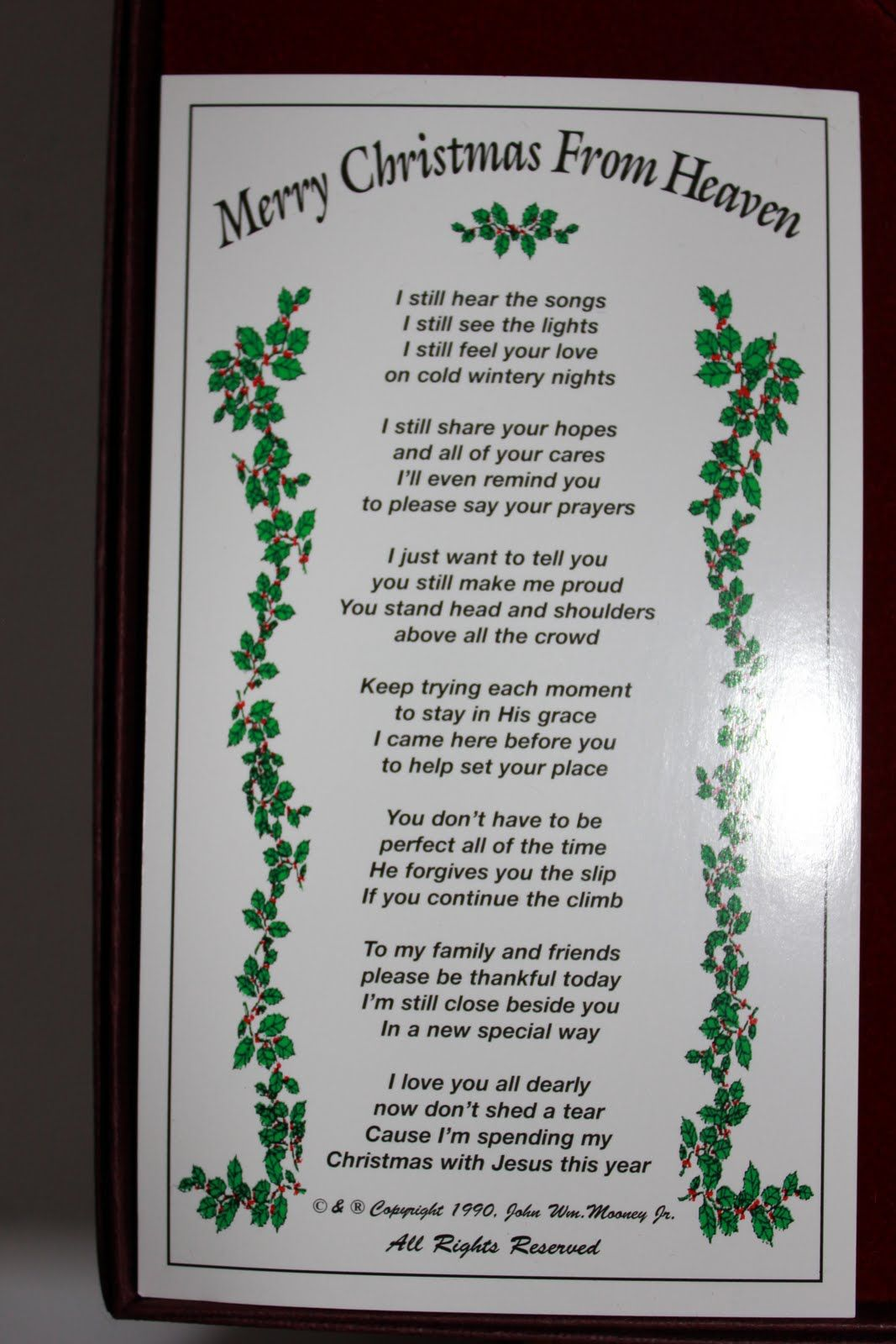 It's just a graphic of Merry Christmas From Heaven Poem Printable intended for grandma's gone heaven
