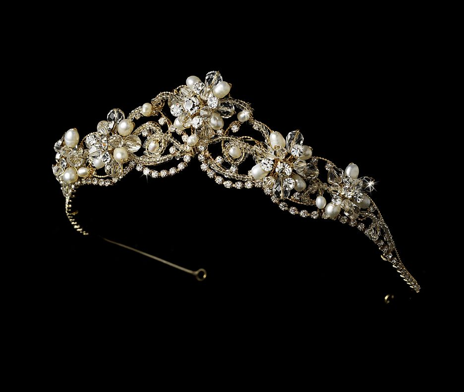 Couture Gold Plated Freshwater Pearl and Crystal Bridal Tiara - just beautiful! - Affordable Elegance Bridal -