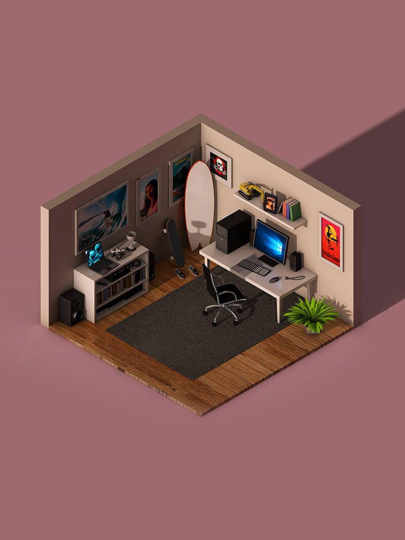 Free Cinema 4d 3d Model Isometric Office Room Scene