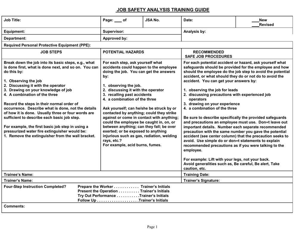 Job Safety Analysis Training Guide regarding Safety