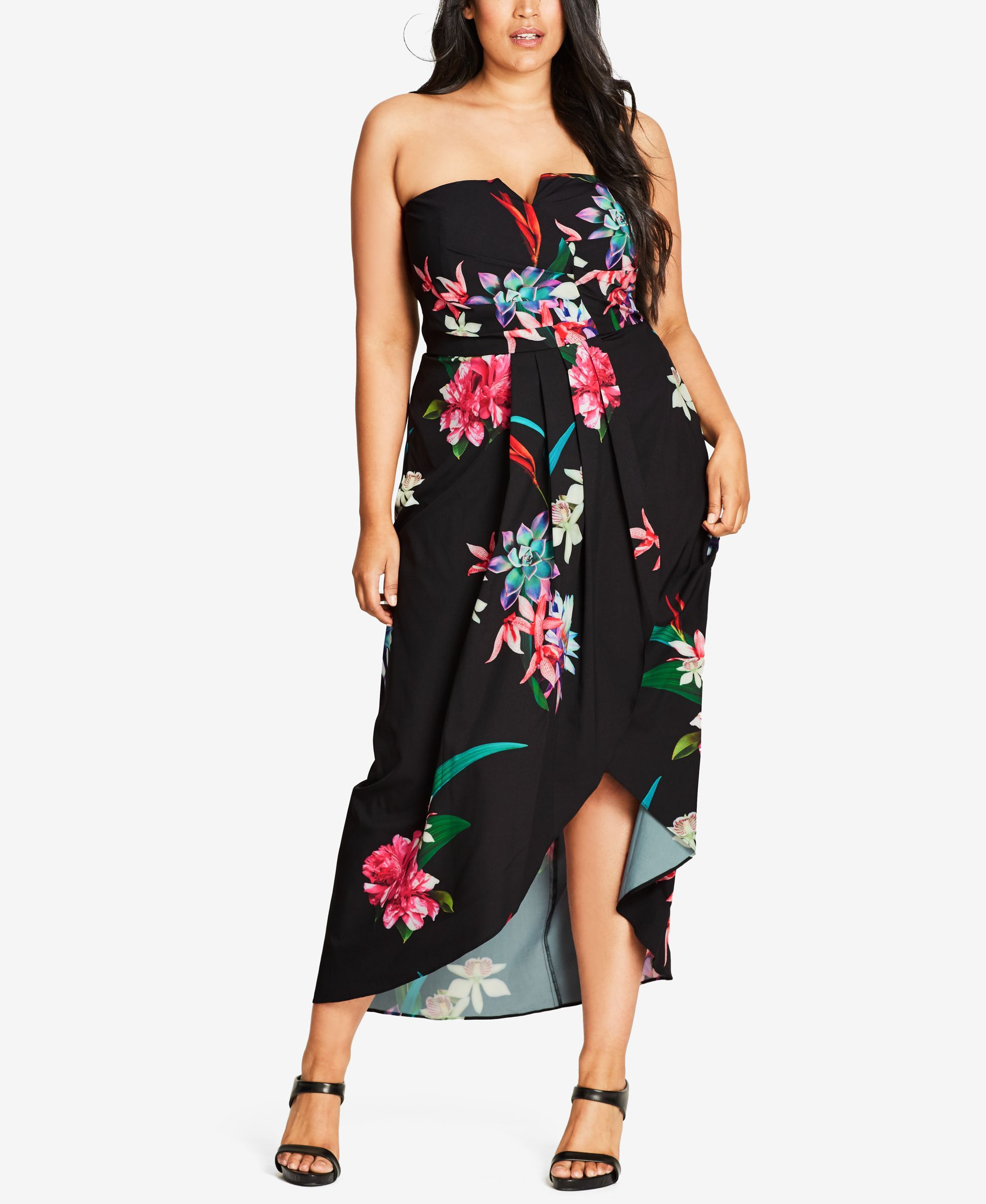 485bbd85674 City Chic Trendy Plus Size Tropical-Print Strapless Dress
