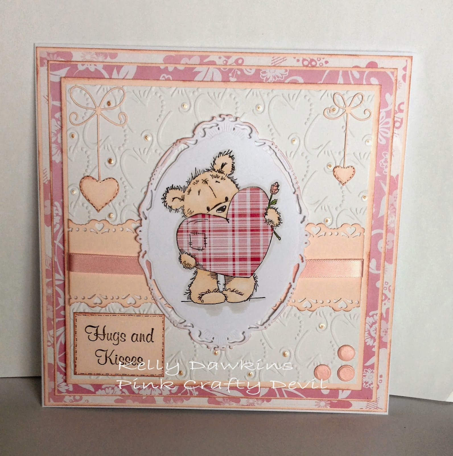 "Hugs and Kisses Card I made using my fav colour ""Pink"