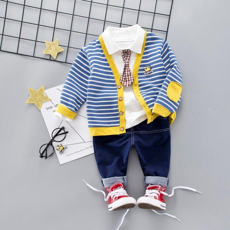 Spring autumn kids clothes set 3 pcs jacket+t-shirt+pants suit for 1-4Y boys